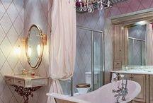 Pink. Bathrooms