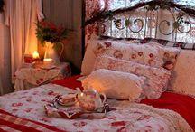 Red and cream decor