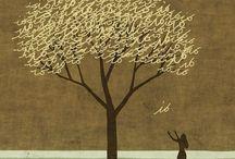 """Ilustraciones /Illustration de Toni Demuro / """"Los árboles tienen una vida secreta que sólo les es dado conocer a los que se trepan a ellos"""" (Reinaldo Arenas)."""