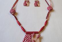 Pink polymer clay necklaces and earrings / Hand  made polymer clay jewellery.