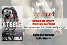 My Novels: Steele/Carolina Bad Boys #3 / MC wildman Brodie Steele makes a deal with hot cop Ashe Kingston. Sex. No strings attached. One week only. What happens at Bike Week stays at Bike Week. Yeah, right.  http://www.amazon.com/dp/B00RSVAEL4  #alphamale   #mc   #bikers   #tattoos   #erotica   #badboys   / by Rie Warren