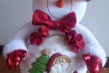 muñecos de navidad, fieltro, lampara / navidad