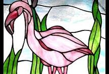 Stained Glass - Flamingos