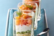 Verrine fraîcheur de saumon au fromage frais, concombre et TUC