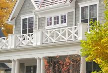 Lake house exterior / Color, front doors,railings, porches,  / by Mindy Dawes