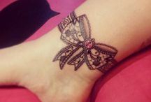 Lace bow tattoos