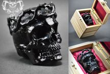 Realistic Human Skull From Buffalo Horn Natsuke With Classic Thorn Twig Crown