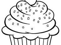 cupcakes, tortas y otros de cumpleaños para colorear