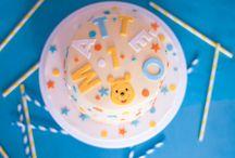 """sweet table1er aniversaire / Sweet Table sur le theme """"Safari"""" vert d'eau à pois blanc et Sweet table"""" Winnie l'ourson et ses amis"""" jaune bleu turquoise et vert anis"""