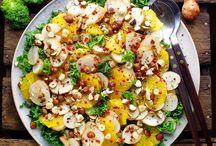 Skønne Salater / Appelsin, Jordskokke, Grønkål og Rosenpeber..