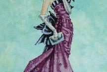 křížková výšivka LADY postavy barevné