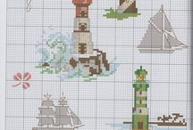 вышивка маяки и море