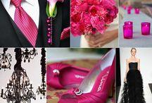 Cerise pink en swart
