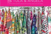 Quilt with Tula and Angela / Two of the biggest celebrities in quilting take the guesswork out of color, shape and line, giving their brilliant aesthetic punch to 17 quilt patterns. This start-to-finish guide also includes essentials on tools, quilting, backing and binding, plus 24 quilting motifs.