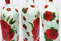 Garrafas de Vidro Reaproveitas Decoradas / Esta pasta, traz ideias criadas por mim, de garrafas de vidros de diversos tipos e tamanhos. Personalizadas com diversos materiais