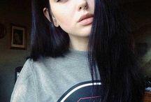 white skin & black hair