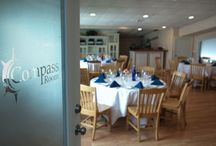 Compass Room / This private room is perfect for intimate gatherings. Beautiful large windows look over the marina's docks,  saltmarsh and the river. The Compass Room's warm and inviting atmosphere can accommodate parties  up to 45 people and features a private bar and private entrance.  Ideal for birthdays, showers, rehearsal dinners, corporate meetings/dinners, holiday parties, etc.