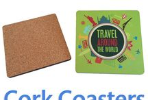 Cork Coasters / These are custom made cork coasters. We can make various different shape coasters and each coaster can be printed with your branding.