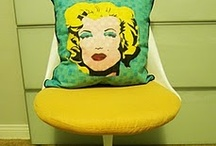 "My creations: CalDesign / Pillow ""PoP"" Design. Accent Pillows hand painted & hand sewn by me."