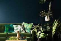 #Interiors - Turquoise Tropics / How To Get the Dark, Moody Botanical Look: Botanicals are certainly not a new motif in home decor, but this trend takes leafy motifs into a fresh, more modern space. Unlike the light and bright tropical patterns of the past, this look is sophisticated, and dramatic. Think fantasy jungle vs summer garden, with a rich and deep palette of saturated blues, greens, and black. The greens of Milan Design Week become deeper this year, in line with a wider trend towards darker design.