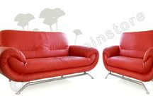 Nina Red Faux Leather Settee Couch 2 1 Sofa Set