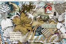 Winter scrapbooking kits / Digital scrapbooking supplies with a winter theme.