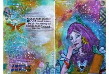Art Journalling & ATCs made / Art Journal page and ATCs which I made