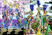 """Alain GIRELLI :Les Trois Grâces _-_ Die drei Grazien _-_ The three Graces _-_ 三增光 / PEINTURE   / SCULPTURE _ If there is no art in nature, the artist invites us here, by the """"nature"""" of his art, to drag us through the maze that cause our mind to consider the nursery rhyme: """"we stroll in the woods ... """"as echoing a ballad, spreading the priorism a danger, surprises us with new shoots and grafts that make up the forest Girelli, its wood! Text of #JeanMAS #WRITER #Artist of #écoleDeNICE"""
