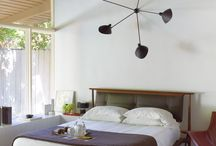 sloped ceiling mid century bedroom