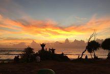Sunset time on rain season Bali always by the sea