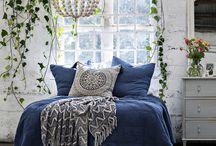 Indigo blues / White, indigo with natural accents - Awash with  indigo . . . .