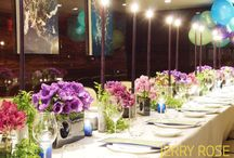 Birthday Dinner / A colorful birthday dinner in New York. Designed by Jerry Rose Floral + Event Design. Photos by: John Simoudis