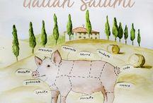 Tasty Italian Salumi, Cold Cuts, Charcuterie / Pictures of Italian Salumi, the tastiest Italian Prosciutto, Bologna, Capocollo, 'Ndujua, salami...