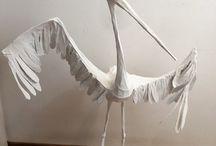 cicogna stork bird / scultura filo di ferro carta pesta  / quotidiano / giornali colla vinilica sculpture creation in iron wire with papier-machè / newspaper cicogna stork  bird