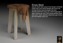 Stool / stool unik semi handmade kombinasi bambu laminasi dan kayu sono keling
