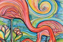elementary art - peacocks, flamingos, owls, etc