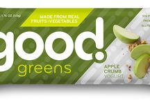 Good Greens / Natural nutrition bars with fruits, vegetables, probiotics, gluten-free, vegan, GMO-free, and a great source of vitamins.  https://savorfull.com/brand/good-greens/