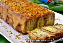 bolo de rolo de banana e pão integral