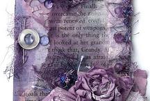 Beautiful layered tag shades of purple / Destressed inks