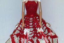 Bell of the ball red white Barbie dress crochet