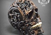 Hand Carved Sculpture Human Skull Filigree Tribal Style from Arang Wood #THB4 / Find this Skull on Etsy