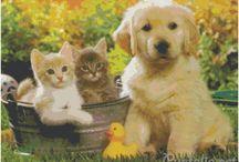 Animales / Preciosos animales y mascotas en punto de cruz