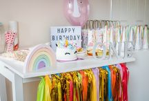 unicorn and rainbow themed first birthday party