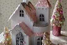 Putz Glitter Houses