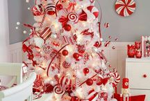 Holiday decor  / Christmas red and white