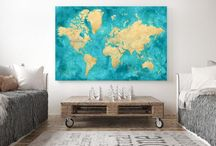 """~ World maps ~ Large 60x40"""" and detailed push pin maps or canvas prints"""