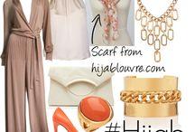 Jumpsuit  brow and heels orange