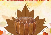 Fall foliage collection / Is fall your favorite time of year? Even though the astounding foliage won't last forever, Moroccan Prestige lets you enjoy the warmth of those autumnal hues in your home, year 'round, with this vibrant collection of Moroccan leather poufs! #Fall#Foliage#Colours#Collection#Moroccan#Leather#Poufs#MoroccanPrestige