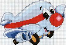 Haft krzyżykowy - Pojazdy, pociągi, samoloty, statki
