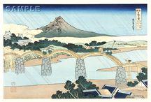 Katsushika Hokusai (1760~1849) From Series - Rare Views of Famous Japanese Bridges / Katsushika Hokusai (1760~1849)  From Series - Rare Views of Famous Japanese Bridges Traditional Japanese woodblock prints
